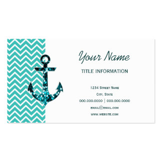 Teal and Turquouise Chevron Nautical Anchor Double-Sided Standard Business Cards (Pack Of 100)