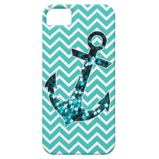 Teal and Turquouise Chevron Nautical Anchor iPhone 5 Covers