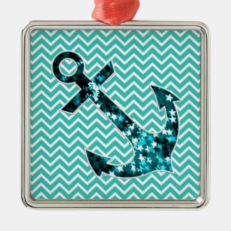 Teal and Turquouise Chevron Nautical Anchor Metal Ornament