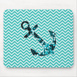 Teal and Turquouise Chevron Nautical Anchor Mouse Pad
