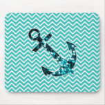 Teal and Turquouise Chevron Nautical Anchor Mouse Pads