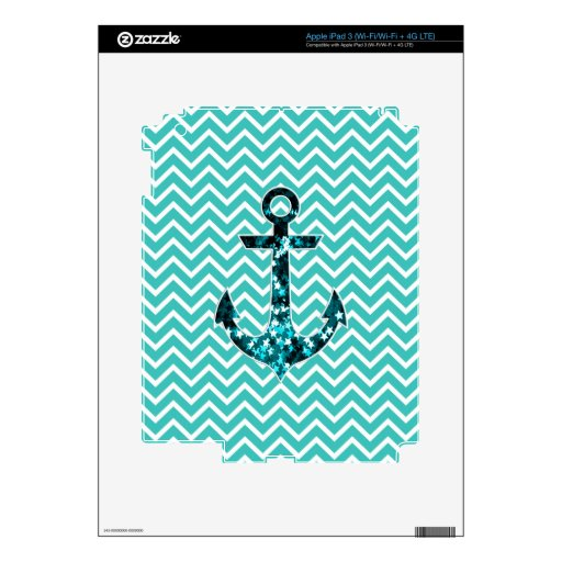 Teal and Turquouise Chevron Nautical Anchor iPad 3 Skins