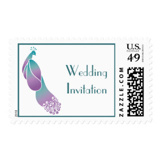 Teal and Violet Art Deco Peacock Wedding Postage