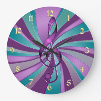 Teal and Violet Swirl Music Clef Wall Clock