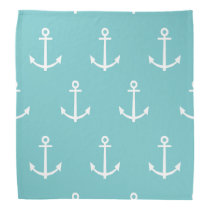 Teal and White Anchors Pattern 1 Bandana