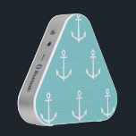 """Teal and White Anchors Pattern 1 Bluetooth Speaker<br><div class=""""desc"""">Teal background color with white anchors pattern. GraphicsByMimi &#169; Girly pattern,  nautical fashion,  preppy chic style with anchor pattern.</div>"""