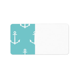 Teal and White Anchors Pattern 1 Label