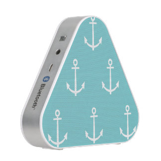 Teal and White Anchors Pattern 1 Bluetooth Speaker