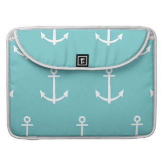 Teal and White Anchors Pattern 1 Sleeves For MacBook Pro