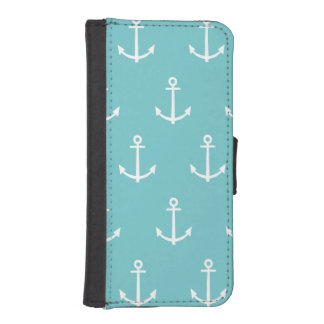 Teal and White Anchors Pattern 1 Wallet Phone Case For iPhone SE/5/5s