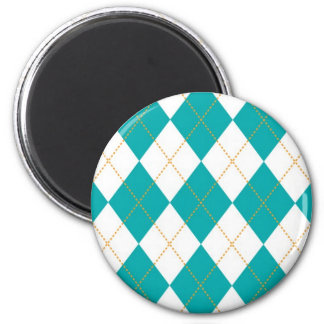 Teal and White Argyle Pattern 2 Inch Round Magnet