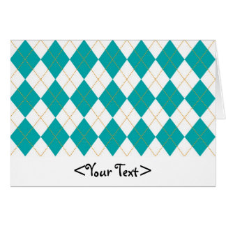 Teal and White Argyle Pattern Card
