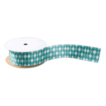 Teal and White Argyle Pattern Satin Ribbon