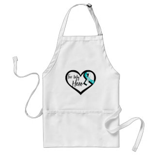 Teal and White Awareness Ribbon For My Hero Adult Apron