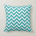 Teal and White Bohemian Chevron Pattern Pillow