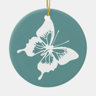 Teal and White Butterfly Ceramic Ornament
