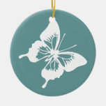 Teal and White Butterfly Double-Sided Ceramic Round Christmas Ornament