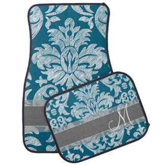 Teal and White Chalkboard Damask Pattern Car Mat