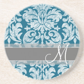 Teal and White Chalkboard Damask Pattern Coaster