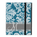 Teal and White Chalkboard Damask Pattern iPad Folio Case