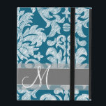 """Teal and White Chalkboard Damask Pattern iPad Case<br><div class=""""desc"""">A whimsical and informal design with hand-drawn damasks and trendy colors. You can add your monogram or name.</div>"""