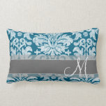 Teal and White Chalkboard Damask Pattern Throw Pillow