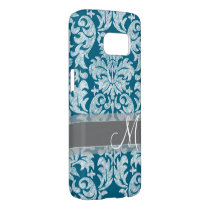 Teal and White Chalkboard Damask Pattern Samsung Galaxy S7 Case
