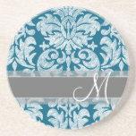 Teal and White Chalkboard Damask Pattern Sandstone Coaster