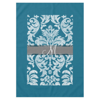 Teal and White Chalkboard Damask Pattern Tablecloth