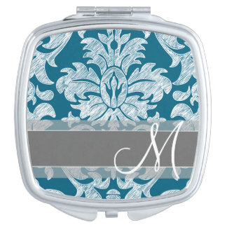 Teal and White Chalkboard Damask Pattern Vanity Mirror