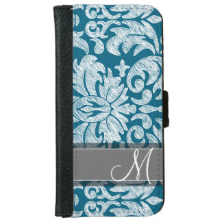 Teal and White Chalkboard Damask Pattern Wallet Phone Case For iPhone 6/6s