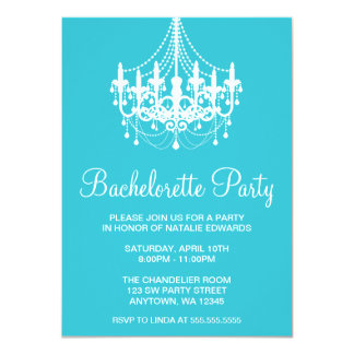 Teal and White Chandelier Bachelorette Party Card