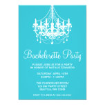 Teal and White Chandelier Bachelorette Party Custom Invitations