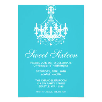 Teal and White Chandelier Sweet Sixteen Birthday Card