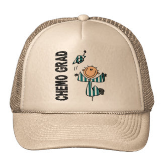 Teal and White CHEMO GRAD 1 (Cervical Cancer) Trucker Hats