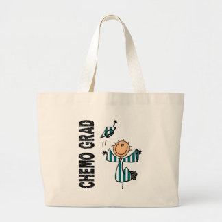 Teal and White CHEMO GRAD 1 (Cervical Cancer) Large Tote Bag