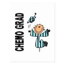Teal and White CHEMO GRAD 1 (Cervical Cancer) Postcard