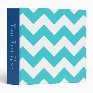 Teal and White Chevron 3-Ring Binder