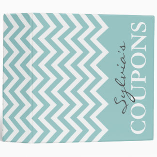 Teal and white chevron pattern coupon binder book