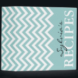 """Teal and white chevron pattern recipe binder book<br><div class=""""desc"""">Personalized teal and white chevron pattern recipe binder book Custom cookbook with personalizable name,  zig zag pattern print and elegant label. Cute personalized cooking gift idea for women; ie mom,  aunt,  grandma etc. Zigzag stripe design.</div>"""