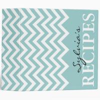 Teal and white chevron pattern recipe binder book