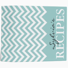 Teal And White Chevron Pattern Recipe Binder Book at Zazzle