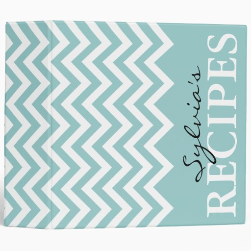 Teal and white chevron pattern recipe binder book