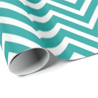 Teal and white chevron zigzag happy holidays gift wrapping paper