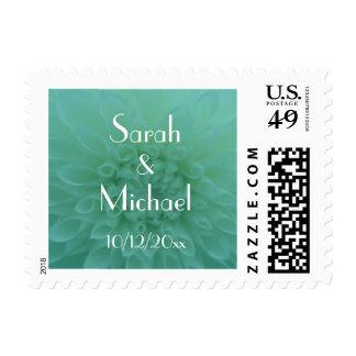 Teal and White Chrysanthemum Wedding Postage Stamp