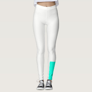 Teal and white color block leggings