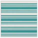 [ Thumbnail: Teal and White Colored Striped/Lined Pattern Fabric ]