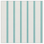 [ Thumbnail: Teal and White Colored Stripes/Lines Pattern Fabric ]