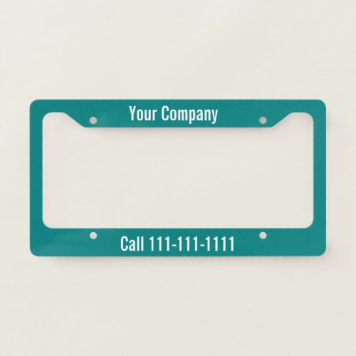 Teal and White Company Ad with Phone Number License Plate Frame