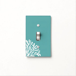 Teal and White Coral Light Switch Cover